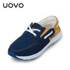New Uovo Brand Suede Leather Casual Shoes Boys Loafers Blue Color Light Boat Shoe EU Size 32-38 Breathable Sneakers Chaussure alishoppbrasil