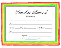 convey your appreciation for your childs teacher by using several of our free printable teachers award certificates