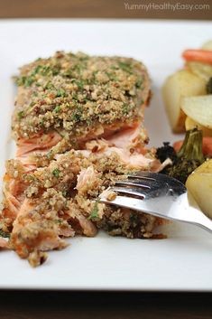 Pecan Crusted Honey-Mustard Salmon (from Yummy Healthy Easy) Crunchy, flaky, tangy -- perfection!