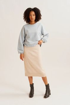 A classic sweatshirt with a romantic twist. Relaxed through the body and sleeve with a gathered cuff for extra volume, crafted from our super-soft Egyptian cotton loopback fabric. Style Vert, Lace Skirt, Midi Skirt, Bust A Move, Egyptian Cotton, Green Fashion, Ethical Fashion, Athleisure, Color Splash