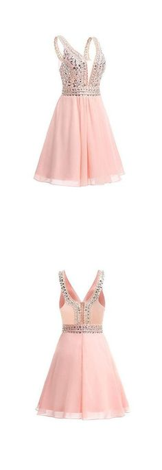 Chiffon Homecoming Dresses,V-neck Short Prom Dresses with Beadings