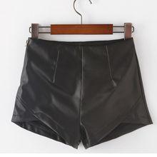 Moda feminina Shorts Shorts de cintura alta de couro sintético PU feminino lápis curto saias femininas(China (Mainland))