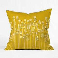Let a little spring pop up on your chair with the sweet flowers running across the front of this happy yellow pillow. Graphic line drawings mark out a whole meadow of charming leaves and blooms springi...  Find the Pop Garden Pillow, as seen in the Have a Very Scandinavian Christmas Collection at http://dotandbo.com/collections/scandinavian-christmas?utm_source=pinterest&utm_medium=organic&db_sku=DNY0032