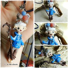 Polymer Clay / Fimo craft by Metalbride.  Jack Frost necklace.  www.facebook.com/MetalbrideslittlesweetWorld  #jackfrost