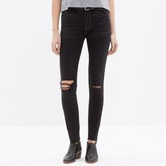 <b>Risk-Free Jeans: Free shipping and returns on all jeans, all the time. </b>We took pristine pairs of our leanest, sexiest fit (complete with a waist-whittling high rise) and had them hand-finished by our denim experts to create a well-loved look (including slit knees and cutoff hems). All this in our special denim that has tons of stretch, never bags out and does life-altering things to the rearview. <ul><li>Sit slightly above hip.</li><li>Fitted through hip and thigh, with a slim ...