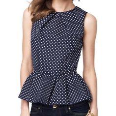 Blusa Vintage cuello redondo Peplum Top Polka Dot mujeres de la impresión sin mangas para Vender - La Tienda En Online IGOGO.ES