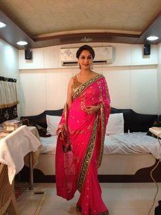 Madhuri Dixit in Pink Saree - Behind the scenes at Jhalak