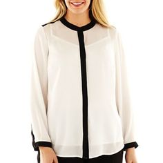 Liz Claiborne Long-Sleeve Mandarin Collar Button-Down Blouse - jcpenney