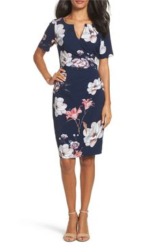Main Image - Adrianna Papell Pleated Floral Sheath Dress