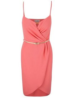 6b1daee9c630 Miss Selfridge - Růžové šaty s páskem ve zlaté barvě - 1 Miss Selfridge