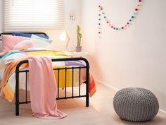 Mocka Felt Ball Garland - Colourful with Sonata Bed, Crochet Pouffe and Gloria Table