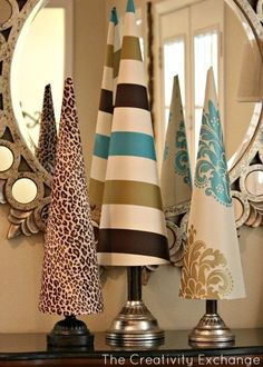 Fabric covered poster board tree cones- Templates & Tutorial- The Creativity Exchange