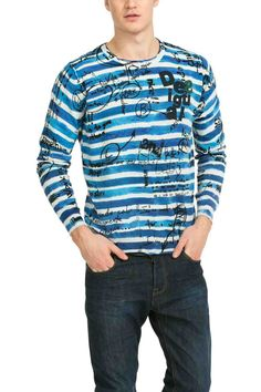 50J11B3 5027 Desigual Sweater Rayas-Lettering fa80730db0f99