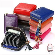 US$11.79 RFID  Antimagnetic Genuine Leather 15 Card Slots Multi-slots Tassel Card Holder Coins Bag