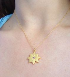 English Daisy Pendant ❁ 14k Gold   Rhodolite Garnet  #LiliKlein #Jewelry