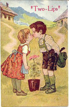 """ Two Lips For You "" Vintage Post Card. Karodens Vintage Post Cards."