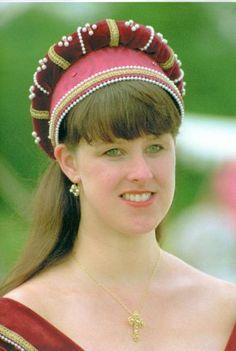 Burgundy Velvet and Burgundy Brocade Flemish Hood, with Jewels and Pearls (Kats Hats) Flemish Hood