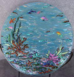 Custom order sculpted dichroic glass art plate, view 1