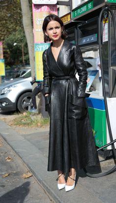 maxi length black leather coat - Mira Duma #fashion #chic #trends