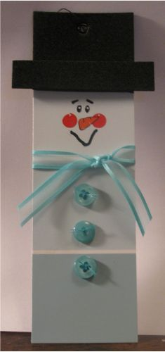 Original Vicki - rosy cheeked paint chip snowman with teal buttons and scarf