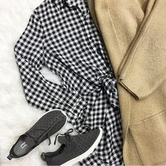 Sweet Caroline 🙌📸⭐️ :::Plaid yass ! / Dress with a front tie Yass!!:: Plaid front Tie Dress paired with knee length Cardi ($68) & sneakers for a CHILL and Cute  winter to spring closet blend . 🍃For immediate assistance or to ORDER call☎️701-356-5080 (We Ship📦& Hold)