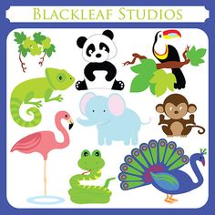 Tropical Animals Clipart Set Digital Download by BlackleafClipart, $5.00