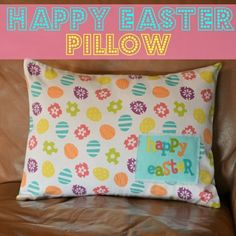 Easter pillow made using repurposed fabric napkins by iris-flower