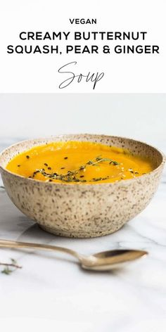 Looking at this Butternut Squash Soup reminds me of everything I love about fall. The rich colors, tastes, and warm toasty feelings you get when you're snuggled up with a good bowl of soup. #Vegan #VeganFriendly #VeganRecipe #ThanksgivingRecipe #Soup #SoupRecipe Vegan Dinner Recipes, Healthy Soup Recipes, Paleo Soup, Gf Recipes, Healthy Food, Bowl Of Soup, Soup And Salad, Paleo Butternut Squash, Roasted Pear