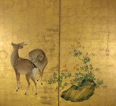 Deer. Japanese folding screen. Mori Shuho. Edo Period. 1738-1823. Penn Museum.