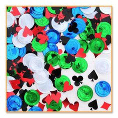 Make it rain with casino chips at casino night with our Poker Party Confetti! Each package features poker chip and suits of card shaped plastic confetti. Measures Includes ½ oz of confetti per package. 90th Birthday Decorations, Casino Party Decorations, Casino Theme Parties, Party Themes, Party Ideas, Poker Party, Gold Number Balloons, Sacher, Graduation Party Supplies