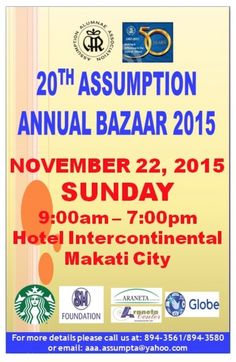 Christmas Bazaar Schedule 2015 around the City Makati City, Bazaars, Philippines, Schedule, Christmas, Timeline, Xmas, Navidad, Noel