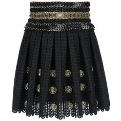 PACO RABANNE embellished crochet mini skirt ($1,693) ❤ liked on Polyvore featuring skirts, mini skirts, bottoms, saias, faldas, pleated a line skirt, embellished mini skirt, pleated mini skirt, embellished skirt and short pleated skirt