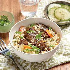 Soy-Braised Pork and Rice | CookingLight.com #myplate #protein #veggies