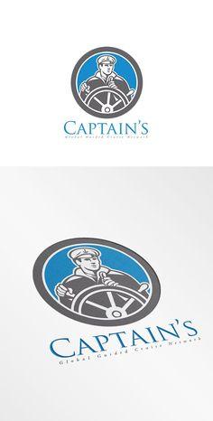 Captain Global Guided Cruise Logo by patrimonio on @creativemarket