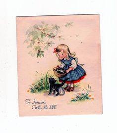 Vintage Little Girl with Basket of Kittens Who Is Ill Greeting Card   eBay