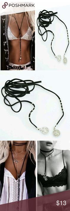 Black boho coin long choker Vegan suede festival rope tie necklace with silver coin and bead accents. Urban Outfitters Jewelry Necklaces