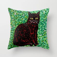 An Cat Dubh Throw Pillow. An Cat Dubh (irish)  The Black Cat (english)  This is a section of an acrylic-on-canvas painting called Master and Servant. You can watch the original from start to finish is a speed video on YouTube- http://youtu.be/8Wu7VxoNxe8  #ancatdubh #blackcat #lechatnoir #cats #green #catoftheday