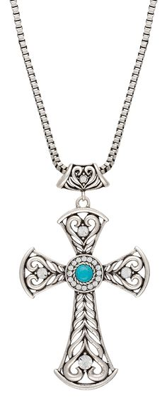 Rock 47® by Wrangler® Knotted Lace Blue Stone Heart Scroll Cross Necklace. This silver-tone 20 inch matinee length necklace features an open wire cross crafted of chevron filigree capped at each end with a styled heart. Accented with a rhinestone at each arm and a turquoise colored stone in the center.