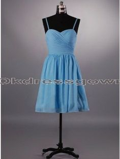 A Line chiffon blue bridesmaid dress