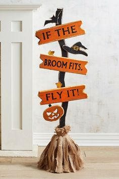 If the broom fits, fly it! Cute Halloween Pumpkin Decor Ideas | Fall Decor | Halloween Decorations | Halloween Witch | Pier 1 #fall #halloween #halloweendecorations #pumpkin #ad