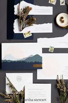 Layers of die-cut mountains brought realistic depth to this dramatic east-west wedding invitation from Yonder Design. This stationery felt autumnal—but playing with the proportions of your paper is a creative idea to ensure your suite feels unique, whatever the season. #weddingideas #wedding #marthstewartwedding #weddingplanning #weddingchecklist Wedding Destination, Wedding Venues, Wedding Planning, Wedding Programs, Wedding Cards, Spring Wedding Invitations, Wedding Stationery, Fall Flowers, T 4