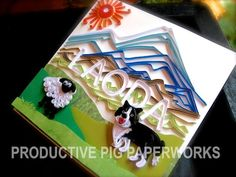 Quilled Sheep and Border Collie Dog with Name and Mountain View