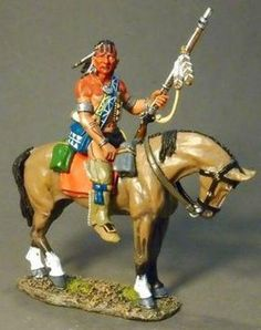 French & Indian War RSF-25A Woodland Indian Mounted - Made by John Jenkins Designs Military Miniatures and Models. Factory made, hand assembled, painted and boxed in a padded decorative box. Excellent gift for the enthusiast.