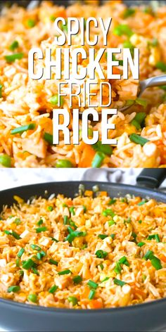 Mexican food recipes 87538786494198341 - Spicy Chicken Fried Rice is an easy lunch or dinner idea. Takes only 30 minutes to make and I share my tips for perfect chicken fried rice. Rice Recipes For Dinner, Easy Appetizer Recipes, Spicy Recipes, Cooking Recipes, Healthy Recipes, Flavoured Rice Recipes, Quick Easy Lunch Ideas, Quick Easy Healthy Dinner, Healthy Shredded Chicken Recipes