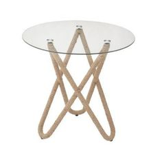 Charming metal rope glass table