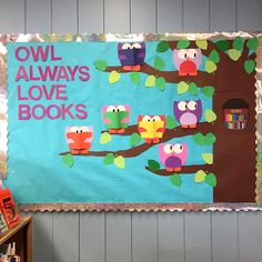 Library display @ Ruth Bach Library #LBPL #OwlAlwaysLoveBooks #ValentinesDayDisplay