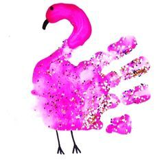 Make a cute handprint flamingo craft for kids! It's a cute hand print art project!