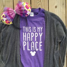 One of the Disney Parks is quite probably your happy place. I am one of those people who is not afraid to show it! Disney is most definitely my happy place! Disney Diy, Cute Disney, Disney Dream, Disney Shirts, Disney Style, Disney Vacation Shirts, Disney Crafts, Disneyland Outfits, Disney Outfits