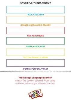 Froot Loops Language Learner helps your kids learn colors in English, Spanish and French.