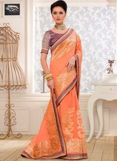 Orange Printed Banarasi Silk Designer Party Wear Sarees http://www.angelnx.com/Sarees/Designer-Sarees